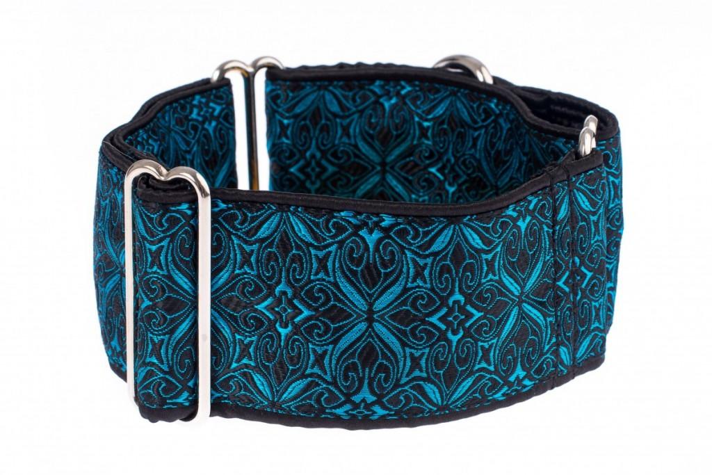 Široký obojek pro psa - Black turquoise aristocratic