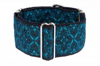 Široký obojek pro psa - Black turquoise aristocratic č.2