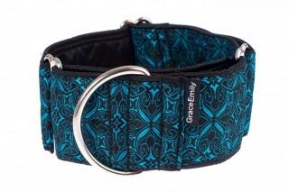 Široký obojek pro psa - Black turquoise aristocratic č.3