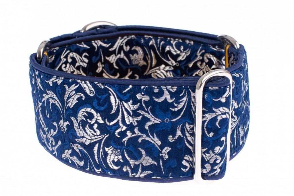 Široký obojek pro psa - Blue silver ornaments