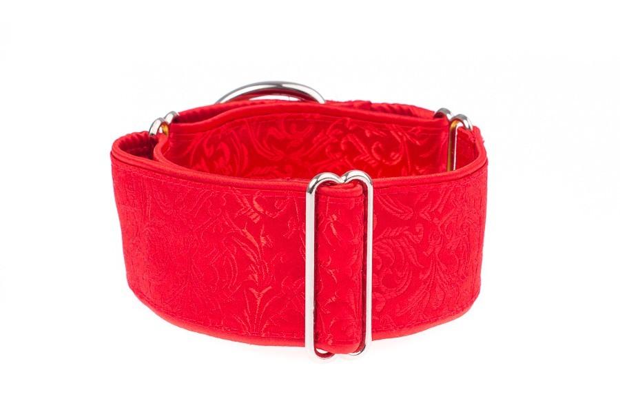 Široký obojek pro psy červený - Red ornaments