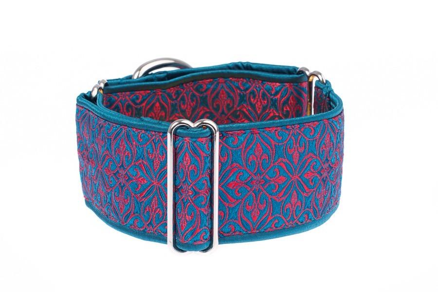 Luxusní obojek pro psy - Turquoise - red aristocratic