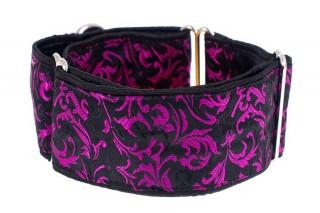 Luxusní obojek pro psy - Black - purple ornaments č.1