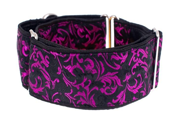 Luxusní obojek pro psy - Black - purple ornaments