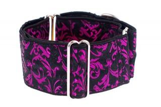 Luxusní obojek pro psy - Black - purple ornaments č.2