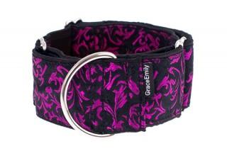 Luxusní obojek pro psy - Black - purple ornaments č.3