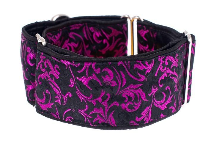 Široký obojek pro psy - Black purple ornaments