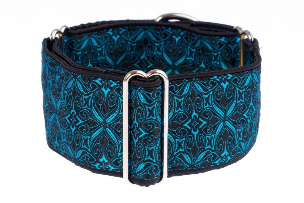 Obojky pro chrty - Black - turquoise aristocratic