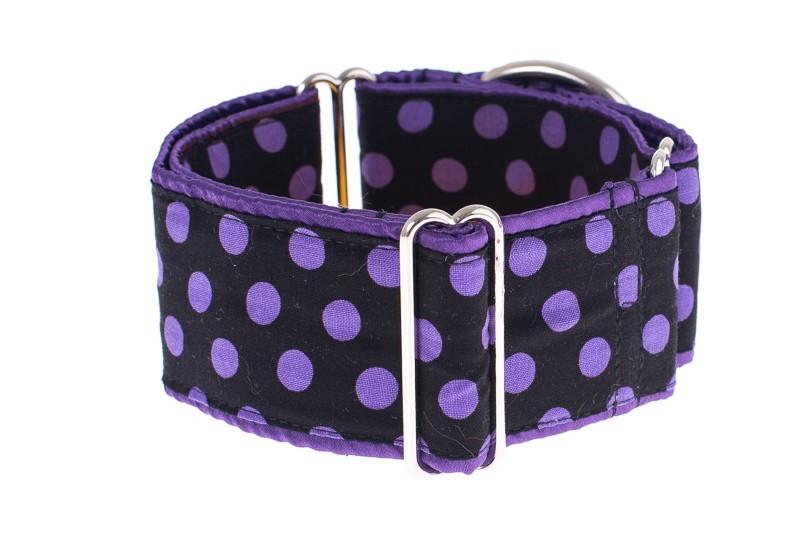 Obojky na míru - Black - purple dots